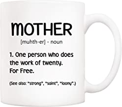 5Aup Mothers Day Christmas Gifts Funny Mother Definition Coffee Mug, Best Birthday and Holiday Gift Idea for Mom Mama from Daughter Son, White 11 Oz