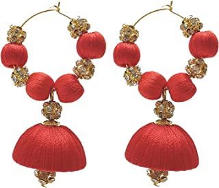 Designer Red Silk Thread Bali Earrings with Rhinestone Balls