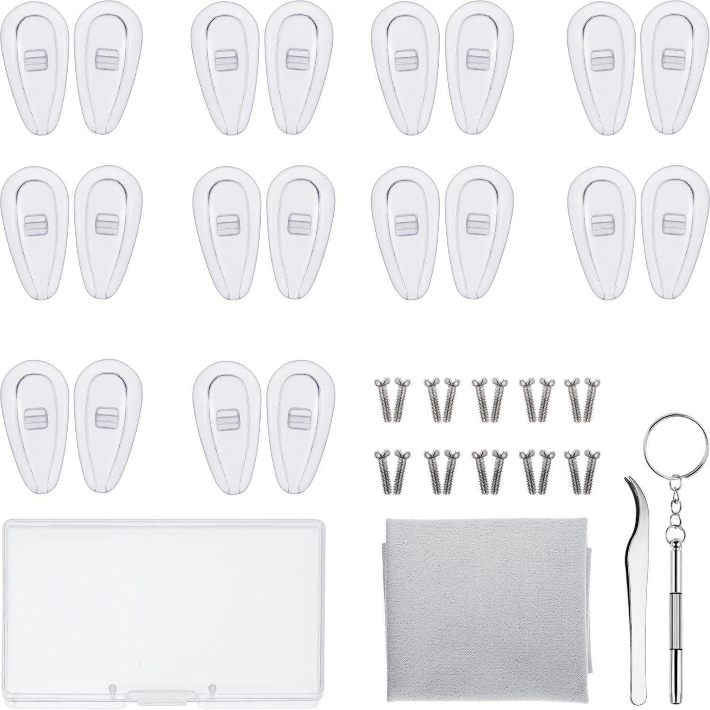 Kit de Reparación de Gafas 10 Pares de Almohadillas de Nariz de Cámara de Aire Almohadilla de Nariz de Gafas de Silicona de Enroscar con Tornillos Pinzas y Paño de Limpieza