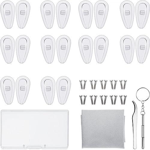 Kit de Réparation de Lunettes 10 Paires Plaquettes de Nez en Silicone Chambre à Air Nose Pads Lunettes à Visser avec ...