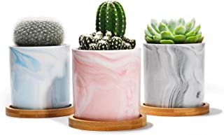 """Potey Succulent Plant Pots Marble - 2.7"""" Ceramic Cacuts Planters Cylinder Minimalism Indoor- Drain Hole with Bamboo Tray - Set of 3, Pink, Grey, Blue"""