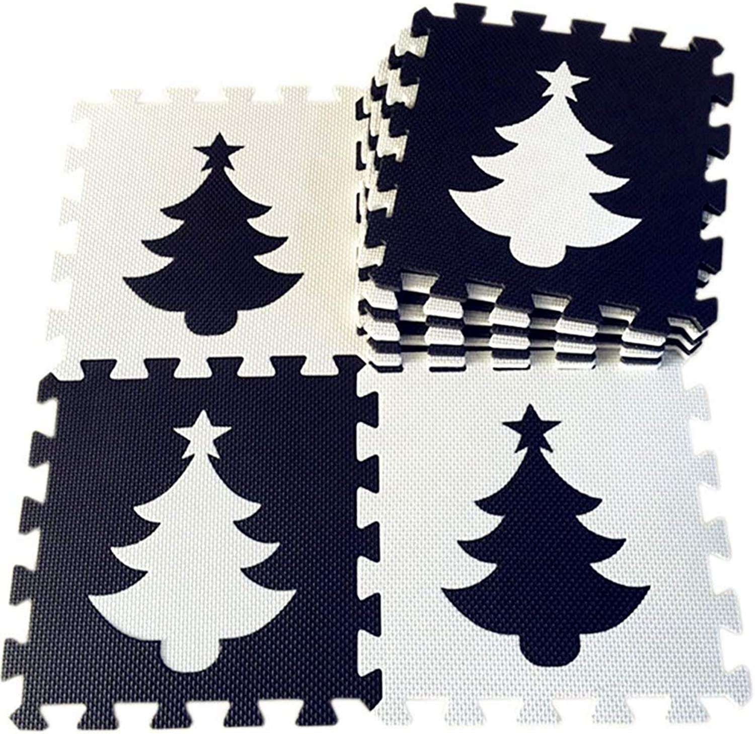 Jim Hugh 25Pcs Baby EVA Foam Play Puzzle Mat Black White Interlocking Floor Carpet Rug pad for Kids. Each Free Edge 32x32cm