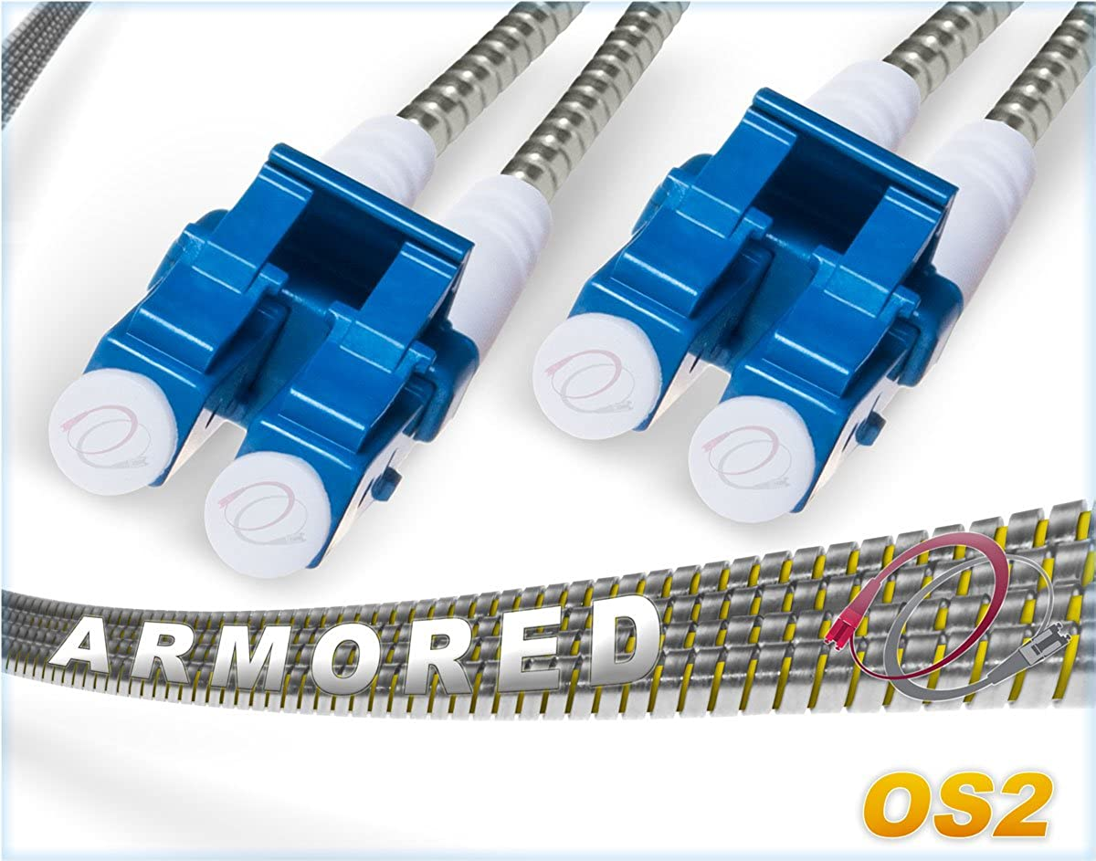 FiberCablesDirect - 3M OS2 LC LC Fiber Patch Cable | Armored LSZH 10Gb Duplex 9/125 LC to LC Singlemode Jumper 3 Meter (9.84ft) | Length Options: 1M-200M | 10g smf sfp 10gbase ls0h Armor ofnr lc-lc
