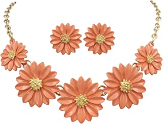 Gypsy Jewels Daisy Flower Cluster Boutique Statement Necklace & Earrings Set