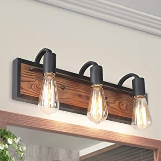 LNC A03440 Bathroom Lighting Fixtures Over Mirror Wooden Farmhouse Vanity Sconce Rustic Wall Lamp