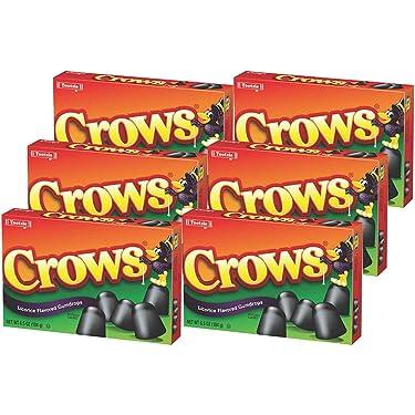 Tootsie Roll Industries Crows regaliz con sabor a gotas de goma, cajas de 7.5 onzas (paquete de 6)