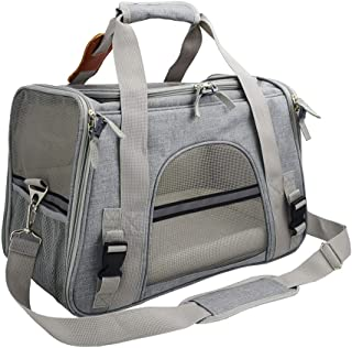 Texsens Airline Approved Pet Carrier, Soft-Sided Cat Travel Carrier for Cats and Small Dogs (Light Grey)