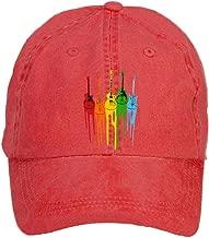 HEHEHAT Colourful Music Guitar Baseball Washed Cap Hat
