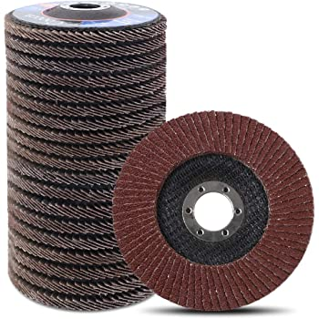 Coceca 20pcs Flap Discs Sanding Grinding Wheels 4-1/2 Inches for Angle Grinder, Type 27 Aluminum Oxide Abrasive(40 60 80 120 Grits)