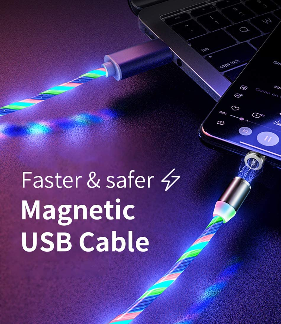 USB Magnetic Cable 3 in 1 LED Flowing USB Type C Micro USB Cable 2 Pack 1M//3.3ft Light Up Magnetic Phone Charger Cord Compatible with Mirco USB Android Type C Smartphone and i Green Product
