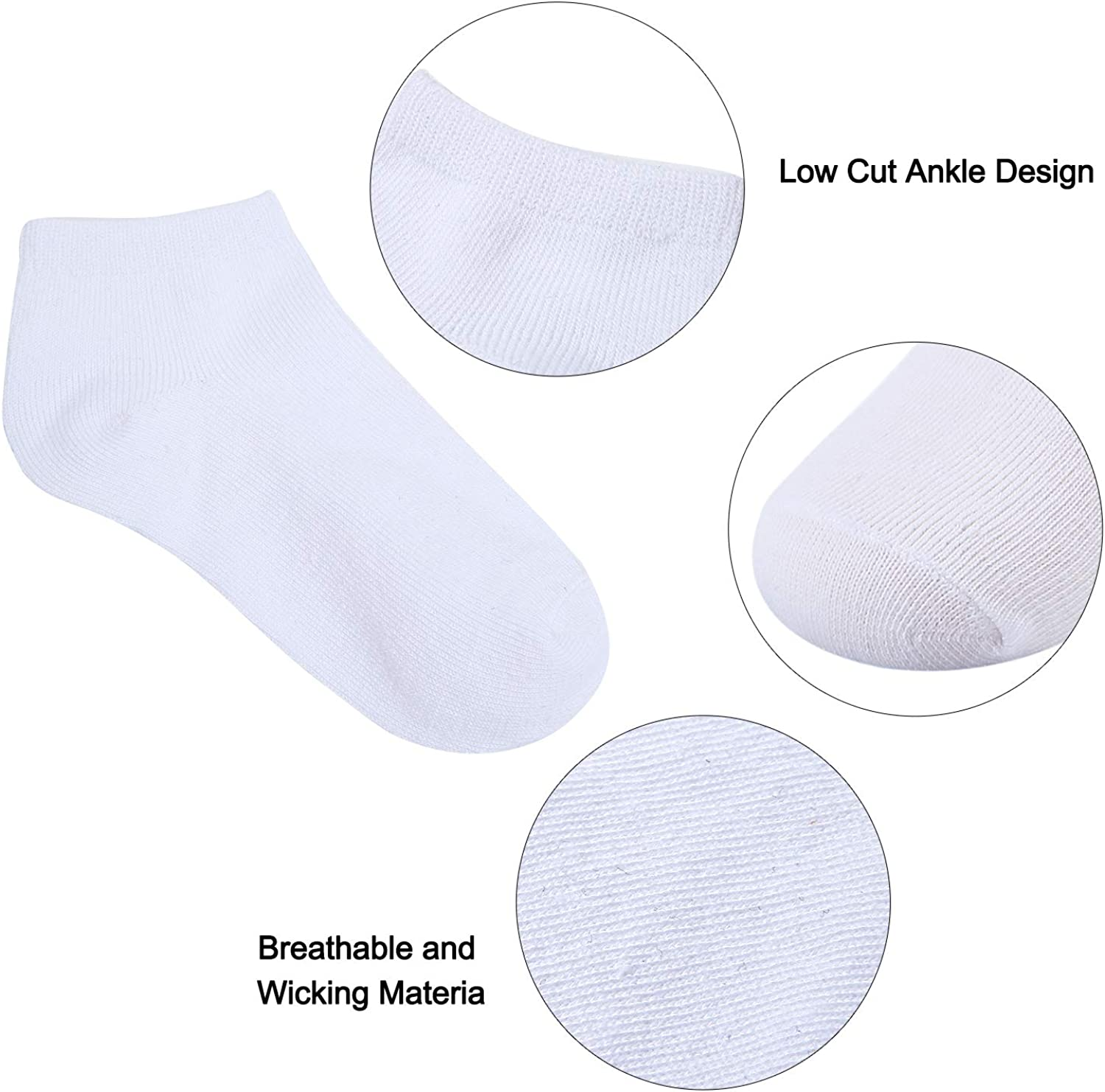 Cooraby/20/Pairs/Toddler/Kids/Half/Cushion/Low/Cut/Soft/Ankle/Socks/Breathable/Athletic/Socks
