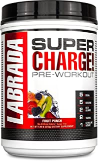 Labrada Nutrition Super Charge Preworkout Advanced Pump and Endurance Formula, Fruit Punch, 625 Gram