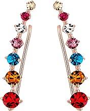 Women Stars CZ Diamond Stud Earring Long Ear Pins Cuff Vine Climber Cralwer Earrings Hypoallergic