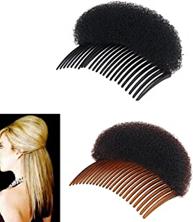 2Pices(1Black+1Brown)Bump It Up Volume hair styling Insert Tool Hair Bun Accessories Comb for Women Lady Girl