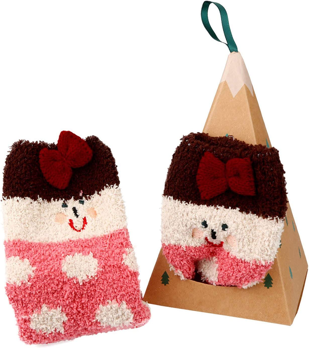WallDecalsAndArt Womens Girls Christmas Fuzzy Socks Winter Warm Cozy Socks Soft Fluffy Cartoon Socks Indoor Socks (C,28x8.5CM)