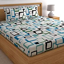Home Ecstasy 100% Cotton Double bedsheet with 2 Pillow Covers Set, 140tc Geometric Blue bedsheets for Double Bed Cotton (Size 7.3ft x 7.7ft)