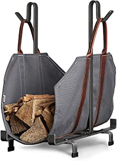 Sarissa Canvas Firewood Log Carrier Tote Carrying Bag Sturdy Fire Wood Holder with Handles, Grey Fireplace Stove Accessories Not Include Metal Rack