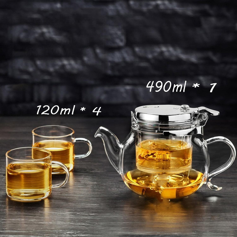 Aich Service à thé en verre,Handmade,Haute température résistant,Théière de raffineHommest pour party de bureau thé maison,1  théière & 4  tasses à thé-A