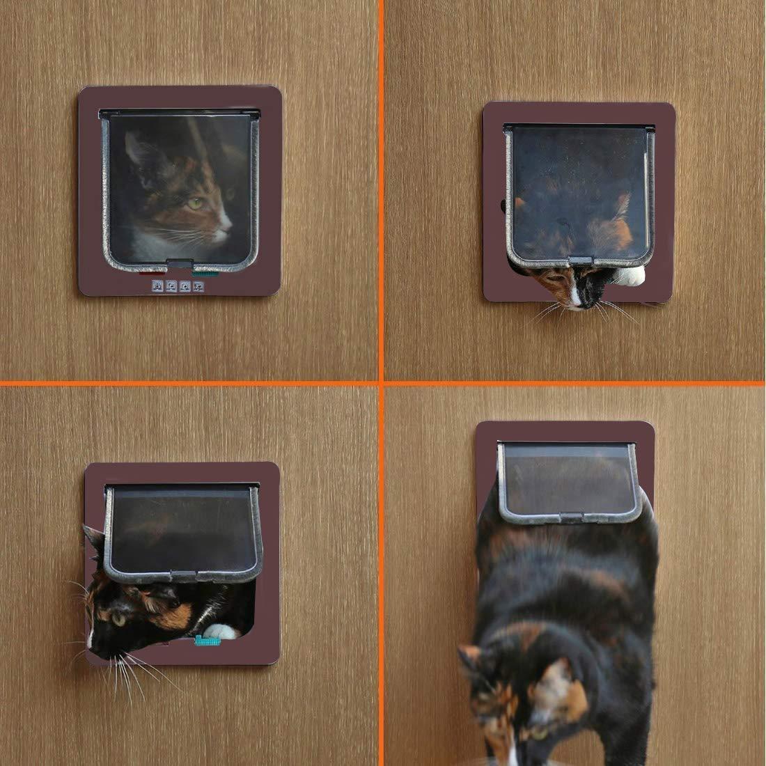 Sailnovo Puerta para Gato con Cierre magnético de 4 vías, Puerta para Mascotas para Gatos y Perros pequeños, Puerta para Gatos con túnel (Marrón, M): Amazon.es: Productos para mascotas