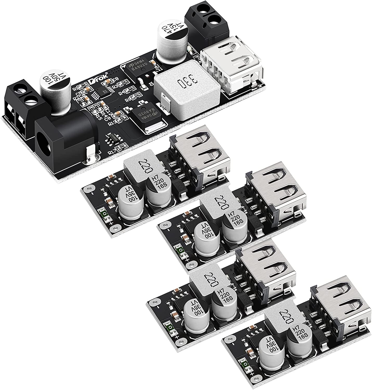 DROK 9V-36V to 5V-5.3V and 4pcs 6-32V to 5V USB Buck Converter Bundle
