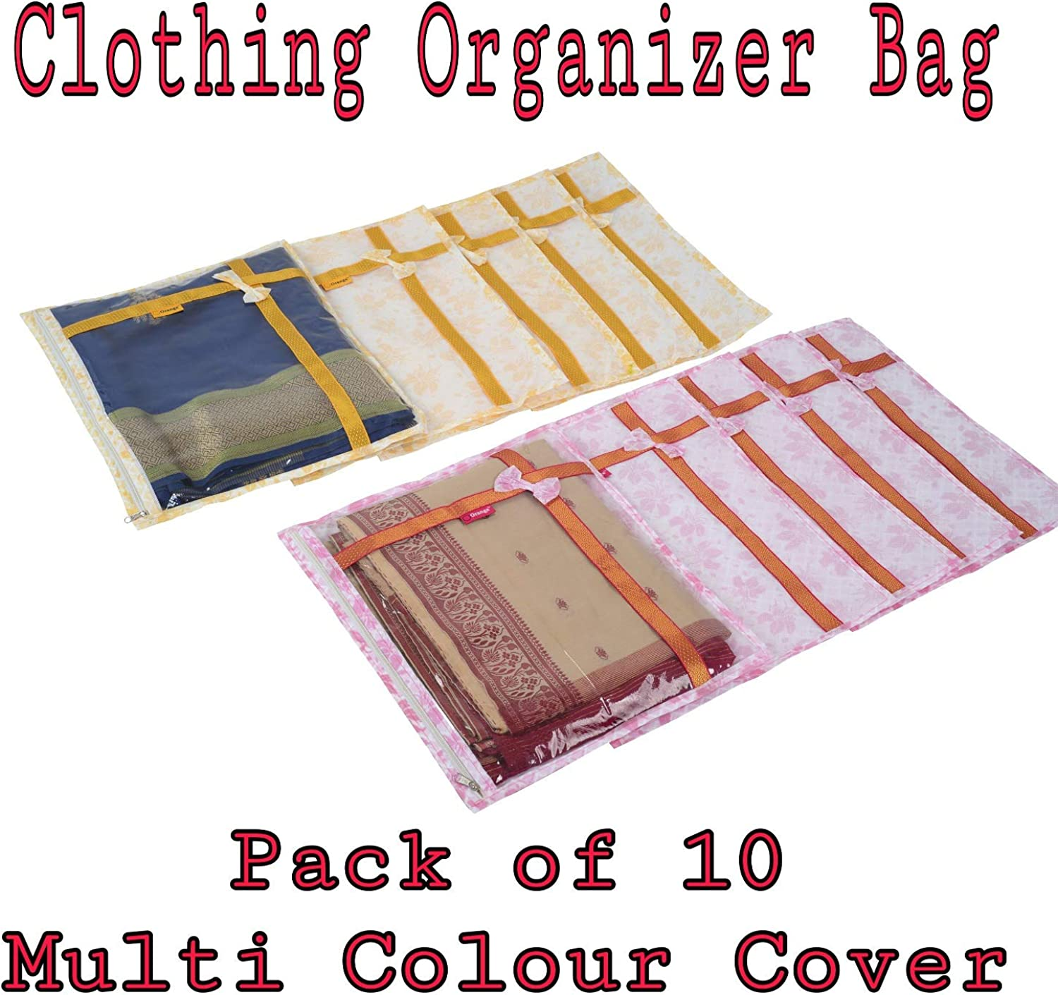 10 Storage Bag for Blanket Kurti saree cloths cover bag desginer saree bag dress cover indian wedding gift wardrobe organiser Breathable Material with window saree cover AHSC004