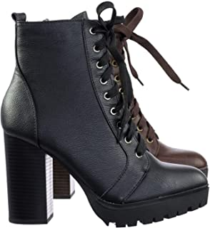 SODA Malia Vegan Round Toe Stacked Lug Heel Lace Up Ankle Booties
