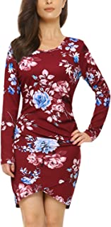 Womens Floral Print Long Sleeve Dress Irregular Hem Ruched Mini Party Dress Tulip Bodycon Dress
