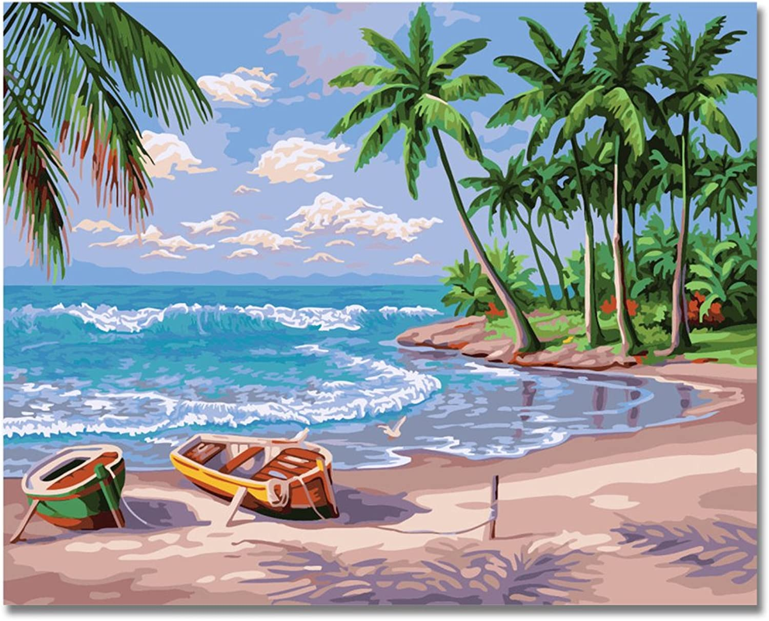 LIUDAO Paint by Numbers Kit for Beginner, Oil Painting on Canvas 16x20 Inch Without Frame (Holiday Beach)