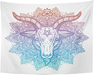 Emvency Tapestry All Seeing Eye in Ornate Round Mandala with Demon Baphomet Satanic Goat Head Mystic Alchemy Occult Home Decor Wall Hanging for Living Room Bedroom Dorm 60x80 Inches