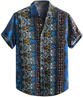 Men's Relaxed-Fit Silk/Linen Tropical Leaves Jacquard Shirt Hawaiian Flower Print Casual Button Down Short Sleeve Shirt