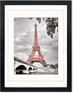 Luxdart 12x16 Frames with Mat to Display 11x14 Picture or 8.5x11 Photo 12 x 16 Black Solid Wood Picture Frame Wall Art for...