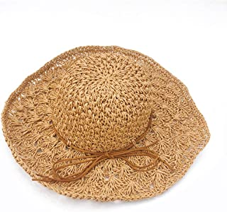 XingKunshop Sun Hat Summer Sun Hats Women Panama Straw Beach Hats Foldable Wide Brim Floppy - UPF 50 sea Visor, Sun Protection Hat,Sun Hats,Summer Hat ,Straw Sun Hats Sunhat,Travel (Color : Yellow)