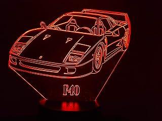 FERRARI F40, Lampada illusione 3D con LED - 7 colori.