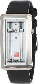 Bulova 96L63 Frank Lloyd Wright Willits Reloj de pulsera de piel para mujer