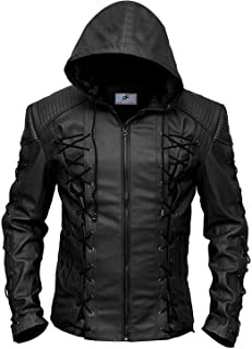 Figura Fashionz DC Green Arrow Black Faux Leather Roy Harper Jacket with Hood for Men