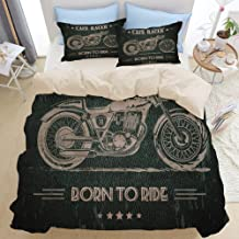 TARTINY Beige Duvet Cover Set, Motorcycle Born to Die Quote with Bike on Grunge Effect Dark Colored Background, Decorative 3 Piece Bedding Set with 2 Pillow Shams