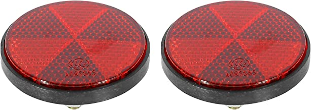 F FIERCE CYCLE Pair M6x1.0 Red Plastic Universal Screw Mount Reflective Warning Reflector for Motorcycle Bike