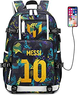 FANwenfeng Soccer Player Star Lionel Messi Multifunction Backpack Travel Student Backpack Football Fans Bookbag for Men Women