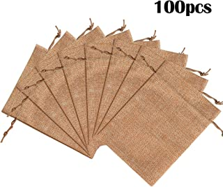 """Lucky Monet 25/50/100PCS Burlap Gift Bags Wedding Hessian Jute Bags Linen Jewelry Pouches with Drawstring for Birthday, Party, Wedding Favors, Present, Art and DIY Craft (100Pcs, Coffee, 3"""" x 4"""")"""
