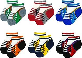 Liwely 6 Pairs Baby Boys Socks, Ankle socks for 3 - 12 Months Infants, Sneaker socks