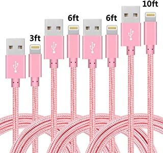 4Pack (3ft,6ft,6ft,10ft) Nylon Braided Charging Cord Charger Compatible with PhoneX/8/8Plus 7/7 Plus/6s/6s Plus/6/6 Plus/5s/55se,Pad,Pod and More (Pink)