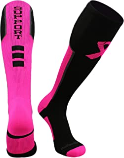 MadSportsStuff Pink Ribbon Breast Cancer Awareness Support Athletic Over The Calf Socks