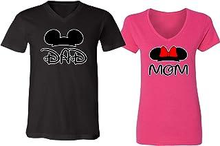 973810efd Disney Mickey Dad Minnie Mouse Mom Family Couple V-Neck Shirt for Men Women
