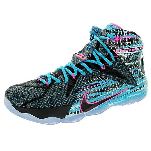 Nike Mens Lebron XII Black/Black/Pink Pow/Bl Lagoon Basketball Shoe (