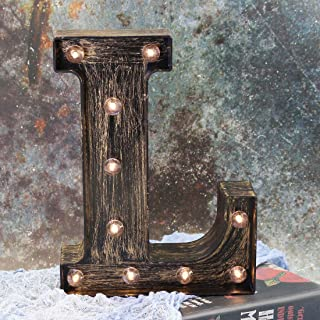 LEDIARY Lighted Halloween Decorations, Warm White Night Light for Table Decor - Letter L