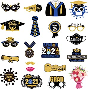 DmHirmg Graduation Photo Booth Props, Graduation Photo Booth Props Black and Gold for 2021 Graduation Party Favor Supplies,Graduation Party Decorations 21Pack (21)