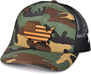 The Patriot' Leather Patch Hat Curved Trucker - One Size Fits All
