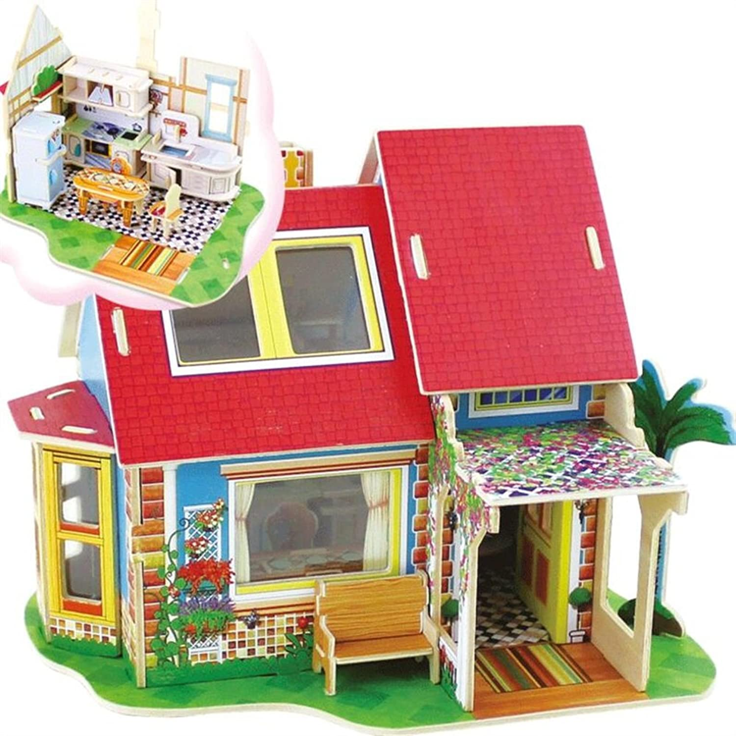 Leng QL Kids Early Development Toy colorful Wooden 3D House Puzzle Early Learning Toy Fantastic Gifts for Kids(Kitchen)