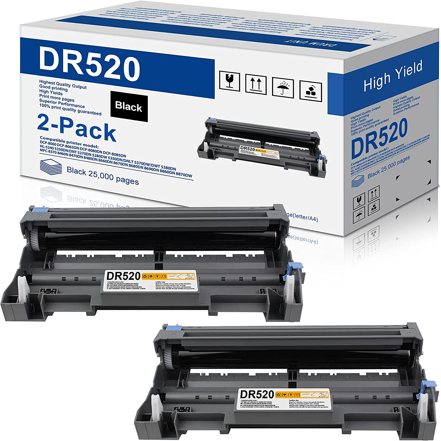 2-Pack Black Compatible Drum Unit Spasm price DR520 Replacement Quantity limited Brother for