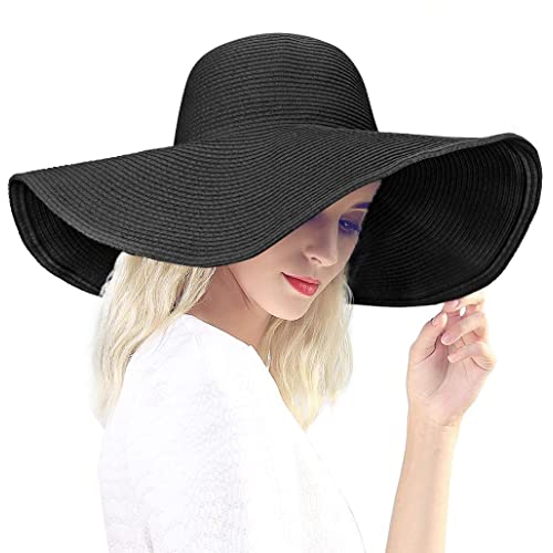 Dafunna Black Straw Hat Floppy Beach Hat Striped Sun Hat Foldable and  Packable 2af3ed0fd8e